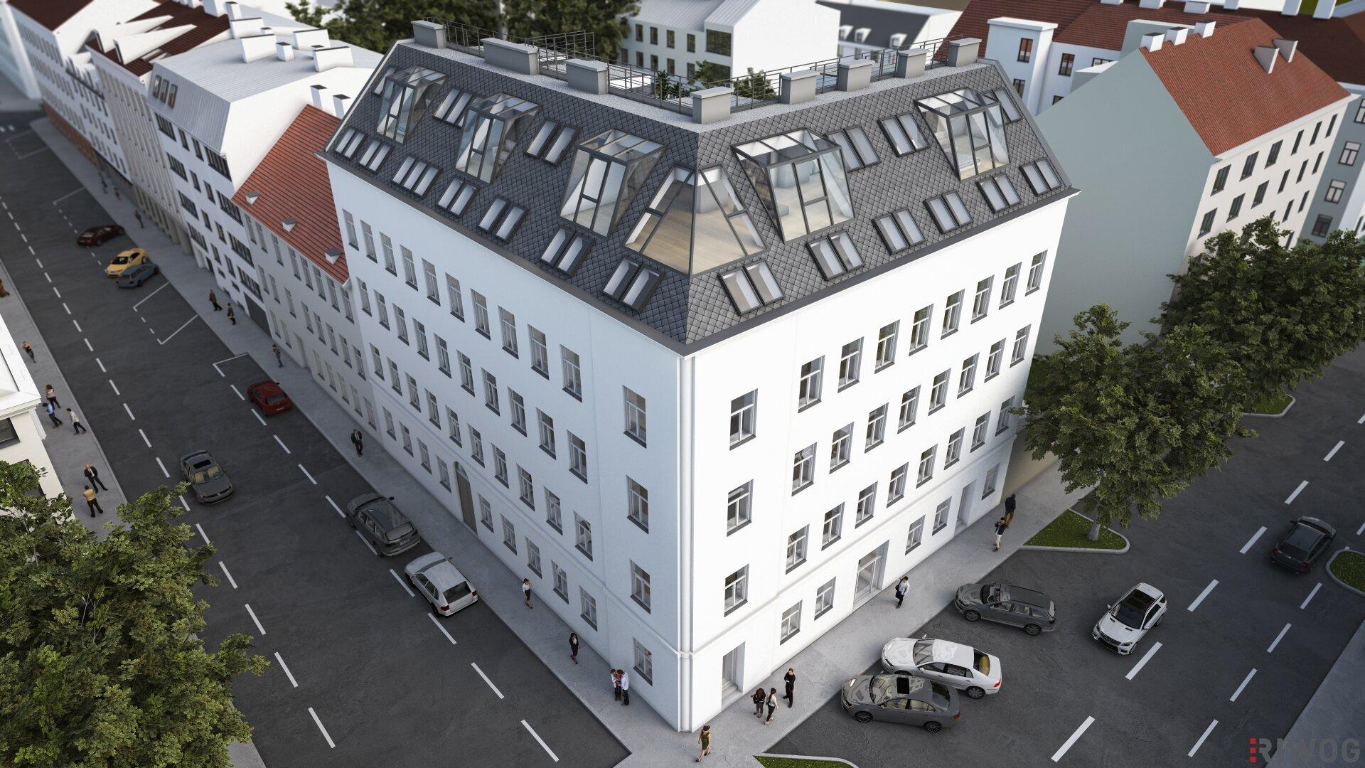 Was für eine Aussicht! | Dachgeschoß-Wohnungen in Neulerchenfeld mit herausragendem Blick über die Wiener Innenstadt (Projektansicht)