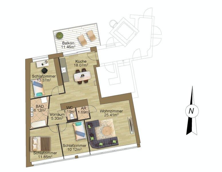 Wohnen über den Dächern! Schmucke 3-Zi.-Balkonwohnung mit optimaler Aufteilung /  / 1090Wien / Bild 5
