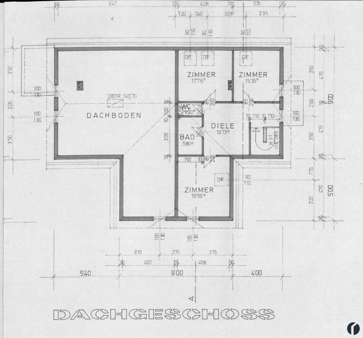 Gesamtübersicht Doppelhaus: Dachgeschoss