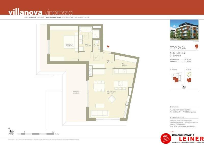 100 m² PENTHOUSE *UNBEFRISTET*Schwechat - 3 Zimmer Penthouse im Erstbezug mit 54 m² großer südseitiger Terrasse Objekt_9215 Bild_622