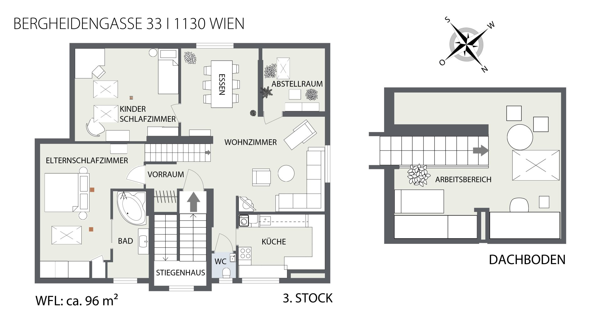 2D Wohnungsplan 3. Stock + Dachboden