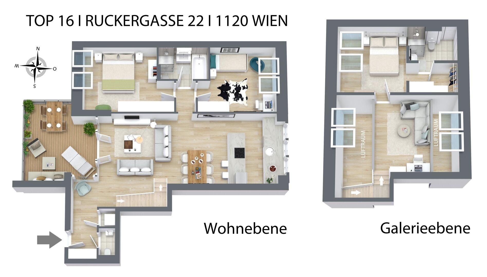 Wohnebene + Galerieebene