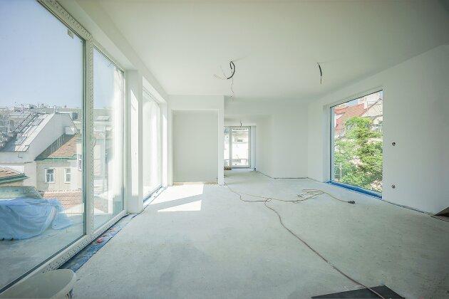 Foto von NEU! ++ Mit Aufzug direkt ins Wohnzimmer ++ Erstbezug, 171 m2, 4 Zimmer- Dachgeschosswohnung, Auto-Abstellplatz, Dachterrasse mit Panoramablick, Solar Rollläden, Klima, Fußbodenheizung, 1090 Wien (Top 23) ++