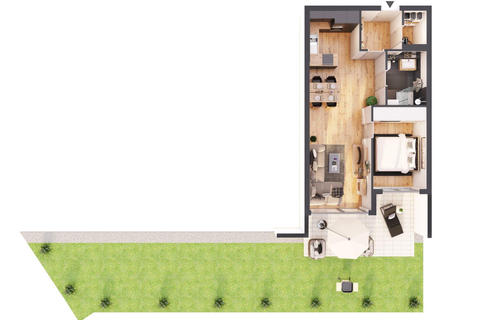 3 D Grundriss mit Garten