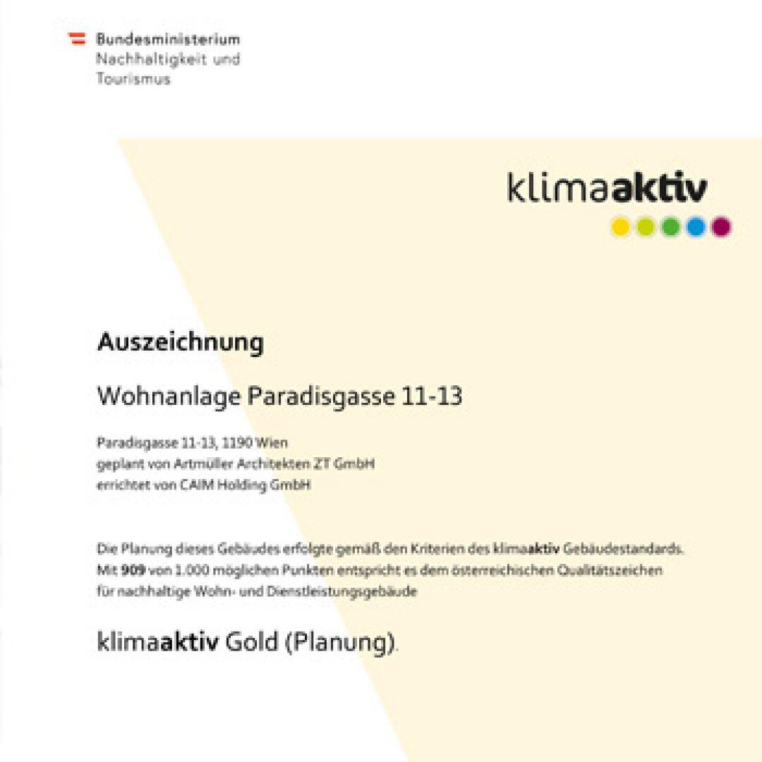Klimaaktiv Auszeichnung Gold