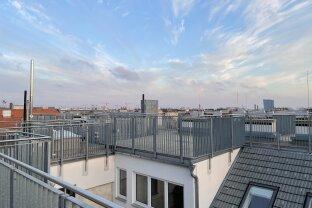 Dachgeschoss mit großzügiger 360° Terrasse, Blick über Wien, zentrale Lage, Erstbezug, moderne Ausstattung, Top 45