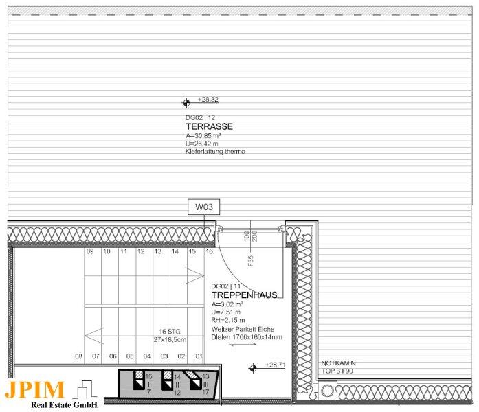 Zentral und ruhig, klimatisierte 3-Zimmer-Dachgeschosswohnung mit Terrasse /  / 1090Wien / Bild 9