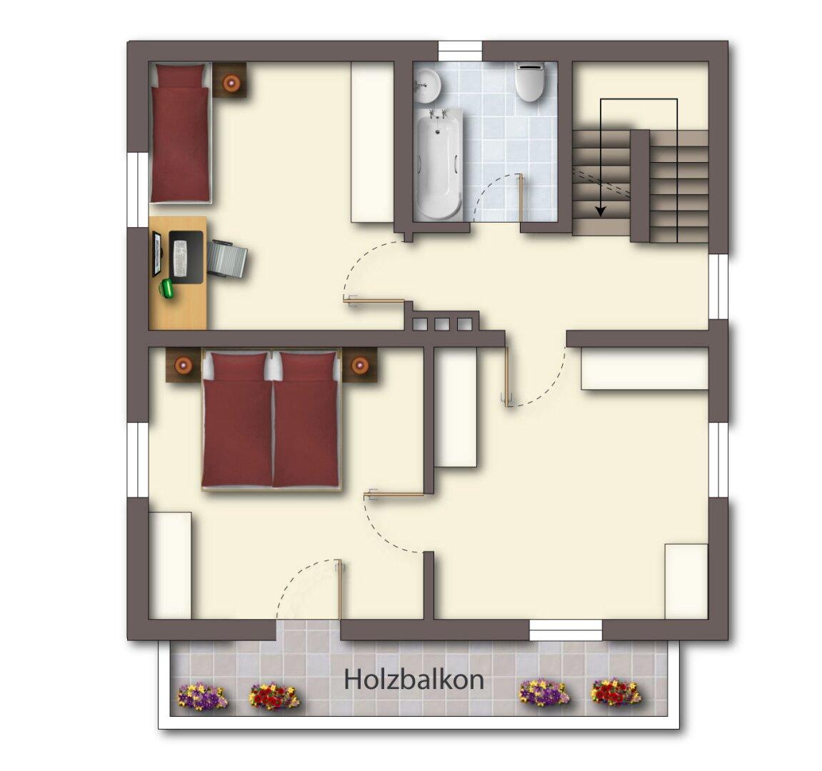 Grudnriss Obergeschoß schematisch, Einfamilienhaus Fieberbrunn
