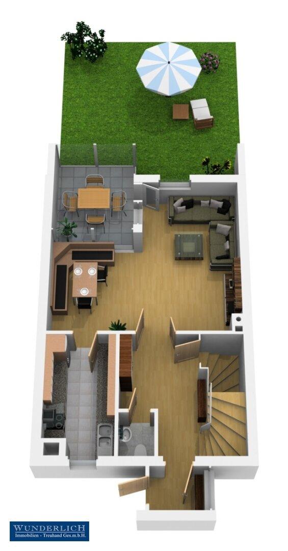 3D-Visualisierung 1 - Erdgeschoß